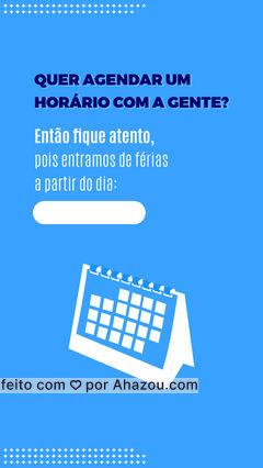 Não fique sem ser atendido(a)! Confira a data que entraremos de férias e marque seu horário para antes de nossas férias. ?️ #Funcionamento #Horario #ahazou #Ferias