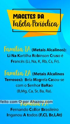 Como os vestibulares não costumam fornecer a tabela periódica, é importante ter em mente alguns elementos da tabela e em quais famílias se localizam! Salve este macete! #MacetesQuímica #MacetesVestibular #AhazouEdu #Química #Vestibulares #DicasVestibular