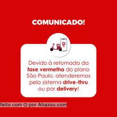 Para preservar a saúde de todos, nos próximos dias da fase vermelho do plano São Paulo estaremos atendendo exclusivamente por sistema delivery ou drive-thru. Pedimos a colaboração e compreensão de todos. Preserve a sua saúde e de todos a sua volta use a máscara corretamente e higienize sempre as suas mãos! #informativo #motivacionais #motivacional #ahazou #comunicado #fasevermelha #planosaopaulo #sãopaulo #SP