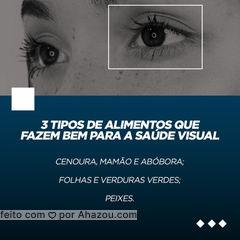 Cenoura, mamão e abóbora: Importantes antioxidantes que protegem a retina dos olhos e ainda mantêm a saúde da pele. Folhas e verduras verdes: Ajudam a melhorar a percepção de brilho e facilitam a visão à distância. Peixes: atuam na prevenção da Síndrome do Olho Seco. #AhazouSaude #AhazouÓticas #viverbem #qualidadedevida #bemestar #cuidese #saude