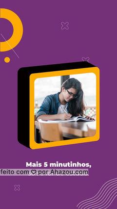 """Os famosos """"mais cinco minutinhos"""" podem ser usados para qualquer coisa. Pra dormir um pouco mais ou pra procrastinar uma tarefa. Então, porque você não usa esses 5 minutinhos para estudar um pouco mais?  #AhazouEdu  #motivacional #estudo #ensino"""