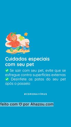 Já sabemos que o COVID-19 não afeta a saúde dos nossos pets diretamente. Mas precisamos tomar alguns cuidados especiais nesse momento de quarentena, já que muitas pessoas continuam passeando com seus pets na rua. ?  Se você é uma dessas pessoas, tome as precauções de higiene recomendadas no post! Vamos nos cuidar para que esse momento acabe logo.  ? #pets #ahazoupet #pet #coronavírus #covid19 #quarentena