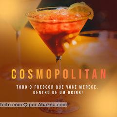 Hoje você bem que merece um bom drink, peça o seu cosmopolitan! 😉 #cosmopolitan #drinks #ahazoutaste  #cocktails  #bar  #pub