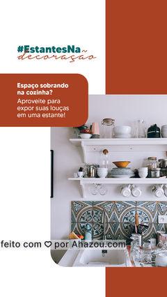 Além de deixar sua cozinha mais elegante e sofisticada, uma estante pode facilitar a sua relação com a organização das louças! #estantes #decoração #AhazouDecora #AhazouArquitetura  #designdeinteriores #decoracao #arquitetura