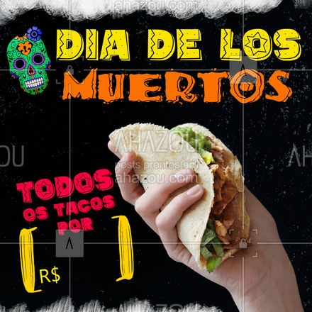 Cadê os loucos por tacos? A promoção de hoje é pra você não ficar na dúvida de qual comprar e pedir todos! ?♀? #ahazoutaste #comidamexicana #cozinhamexicana #vivamexico #texmex #nachos #tacos #diadelosmuertos #losmuertos #ahazoutaste #ahazoutaste