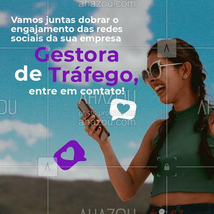 Estou pronta para alavancar as redes sociais da sua empresa contigo! Com uma gestora de tráfego, você pode ficar realmente tranquila. Entre em contato: (inserir contato) #redessociais #gestoradetrafego #gestora #marketing #AhazouMktDigital  #mktdigital #socialmedia #marketingdigital