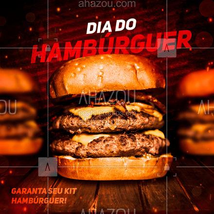 No dia do hambúrguer, nada melhor do que preparar um belo hambúrguersão, e nós já preparamos um kit perfeito pra você! ?? #ahazoutaste #hamburguer #burguer #burger #food #comida #diadohamburguer #KitBurger #KitHamburguer #delivery #lanche #ahazoutaste #ahazoutaste