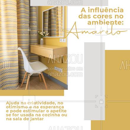 O amarelo pode ajudar a aumentar a sensação de luminosidade e de calor de um ambiente, por ser uma cor quente. Ele é um ótimo aliado para casas que não recebem muita luz natural ??️ #cores #influenciadascoresnoambiente #influenciadascores #amarelo #AhazouDecora #AhazouArquitetura  #arquitetura #designdeinteriores