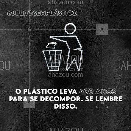 Diariamente, consumimos produtos plásticos como canudos e copos descartáveis que, apesar de usarmos apenas uma vez, ficará no meio ambiente por 400 anos até que se decomponha. A reflexão que o Julho Sem Plástico nos traz é: até que ponto realmente precisamos destes utensílios? ? Vamos tirar esse mês para repensar e reduzir o nosso consumo de plástico? ???  #julhosemplastico #meioambiente #ahazou #sustentabilidade #plasticos
