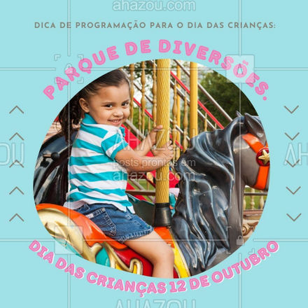 Que tal levar a criançada em um parque de diversões nesse Dia das Crianças? É um local repleto de brinquedos para todas as idades, com um ambiente muito animado. Além disso, as crianças podem se deliciar com as guloseimas que vendem por lá. Pode ir sem medo!??? #dicas #crianças #diadascrianças #programação #lugares #AhazouTravel #viagens  #agentedeviagens  #viagem  #viajar  #trip  #agenciadeviagens