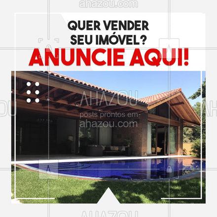 Anuncie seu imóvel e venda mais rápido! Entre em contato: ? (preencher) #AhazouImobiliaria #AhazouConstrutora  #consultoriadeimoveis #corretordeimoveis #mercadoimobiliario #vendadeimovel