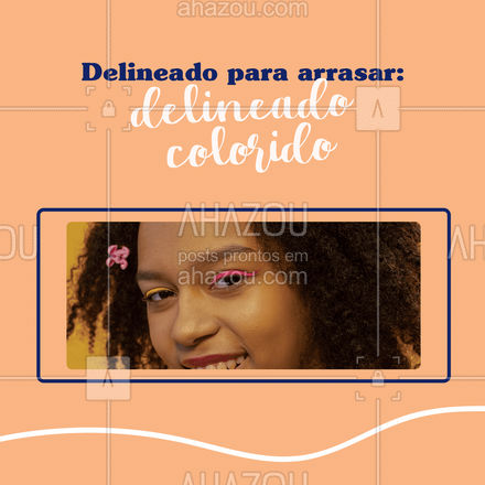 O delineado colorido é para quem gosta de um visual mais ousado e divertido, pode ser feito com delineadores coloridos disponíveis no mercado, com sombras ou batons coloridos. A dica é se jogar nas cores e deixar sua make nada básica. #dicas #AhazouBeauty #maquiagem #makeup