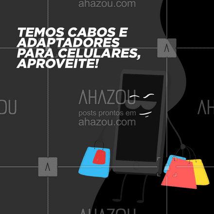 Temos diferentes tipos de cabos e adaptadores para smartphone. ? #AhazouTec #tecnologia #celulares #tablets #acessoriostecnologicos