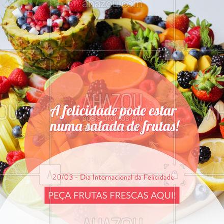 Feliz Dia Internacional da Felicidade! ? Entre em contato e peça suas frutas para comemorar. #hortifruti #frutas #ahazoutaste #DiaInternacionaldaFelicidade #mercearia #qualidade #vidasaudavel