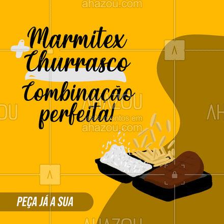 Se você já ama marmitex, imagina com churrasco? Peça já a sua! ?(preencher) #ahazoutaste  #comidacaseira #comidadeverdade #marmitando #marmitex #churrasco #marmitadechurrasco #delivery #pedido
