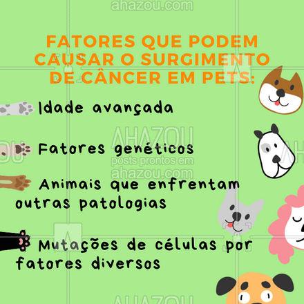 Você sabia que esses são os fatores mais comuns em casos de câncer em animais de estimação? ? Marque alguém aqui nos comentários que precisa saber disso. #AhazouPets #OncologiaPet #OncologiaVeterinária #AnimaisdeEstimação #TratamentoCâncerPet #Vet #Veterinário #AhazouPet
