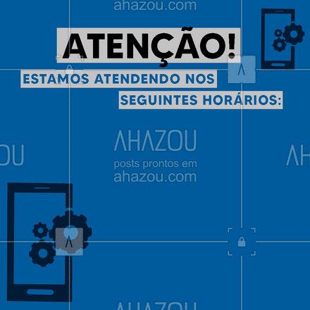 Confira nossos horários de atendimento e traga seu aparelho! ?? #computador #eletrônicos #computadores #assistentetecnico #celulares #AhazouTec