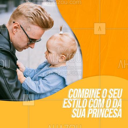 """Eu ouvi look """"tal pai, tal filha""""? Saia combinando com a sua princesa e mostre para ela quem é o seu mundo. ?  #TalPaiTalFilha #AhazouFashion #ModaMasculina #ModaInfantil #PaieFilha #Combinação #Moda"""
