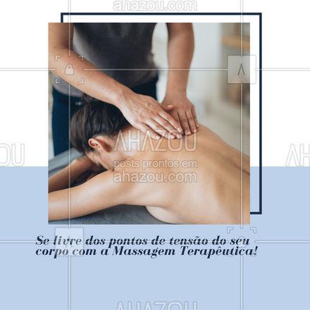 Esta massagem consiste em focar nos pontos que estão tensos e doloridos! Se você está com tensões e dores musculares, agende um horário! Deixe a massagem terapêutica te proporcionar bem-estar. #AhazouSaude #massagemterapeutica  #massoterapia  #relax  #massoterapeuta  #massagem