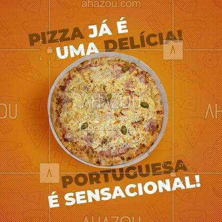 Não dá para resistir a uma maravilhosa pizza portuguesa, não é mesmo? Então não perca mais tempo e peça já a sua! #pizzaria #pizza #pizzalife #ahazoutaste #pizzalovers #sabores #pizzadeportuguesa #portuguesa