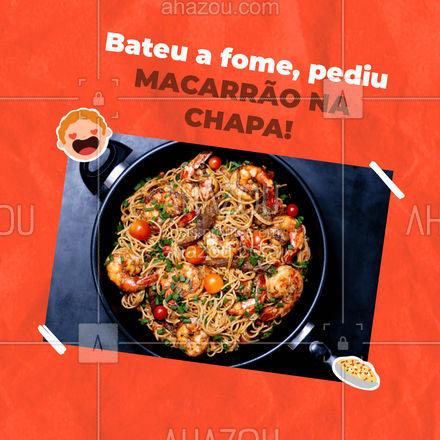 Se você está com aquela fome então nós te damos a melhor ideia para seu delivery! Um delicioso MACARRÃO NA CHAPA, não perca tempo e já faça o seu pedido. #Macarrão #Convite #ahazoutaste #Massas #MacarrãoNaChapa