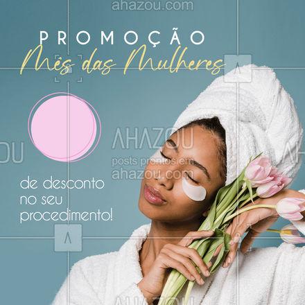 Neste mês das mulheres, nós separamos uma promoção que você e sua pele vão amar. Primeiro procedimento com [x%] de desconto. Na compra do segundo você leva mais [x%] de desconto. É maravilhoso, não é? ?❤️ #AhazouBeauty  #bemestar #esteticafacial #limpezadepele #peeling #beleza #saúde #skincare