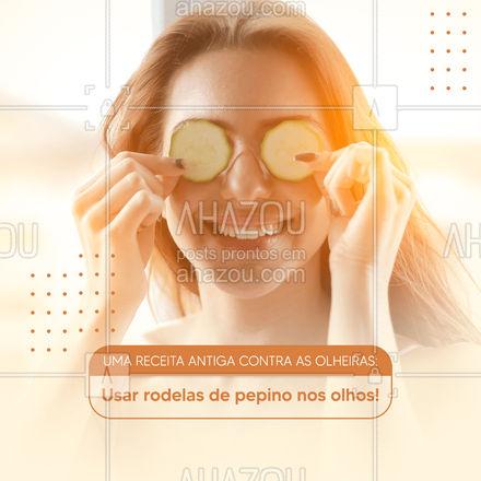 Essa receitinha antiga contra as olheiras ajuda na diminuição da cor escura que as olheiras causa. O pepino contém flavonoides que ajudam a aumentar o tônus dos vasos sanguíneos. Rodelas cruas nos olhos por 5 minutos ajudam a descansar a pele, após isso lave o rosto com água fria. 👀 #AhazouBeauty #makeup #maquiagem #maquiadora #makeoft #dicas #dicascontraolheiras #olheirasnuncamais