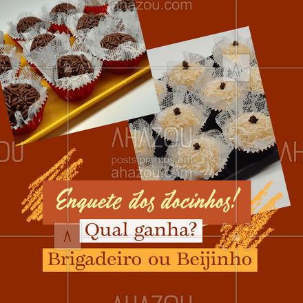 Os dois docinhos mais amados do Brasil: Brigadeiro e Beijinho! Qual dos dois não pode faltar? -Comente!   #ahazoutaste #brigadeiro #beijinho #enquete  #doces #confeitariaartesanal #docinhos