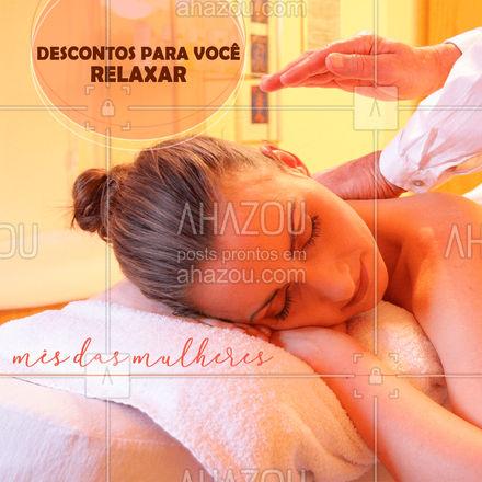 Neste Mês das Mulheres, temos descontos incríveis para você cuidar do seu bem-estar e de quem você ama. Massagens com descontos de até [Inserir valor do desconto]%. E vale presentes para você presentar as Mulheres especiais da sua vida. Aproveite, pois é por tempo limitado. ❤️ #AhazouSaude #quickmassage #massoterapia #relax #massoterapeuta #massagem #AhazouSaude #AhazouSaude