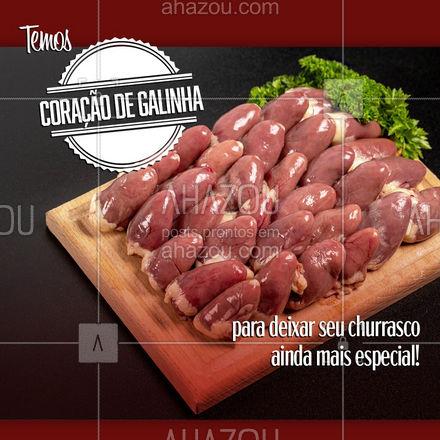 No churrasco não pode faltar o tão famoso coraçãozinho! Venha adquirir o seu e arrase no churras!  #ahazoutaste #churrasco #coracaozinho #coracaodegalinha  #açougue #bbq