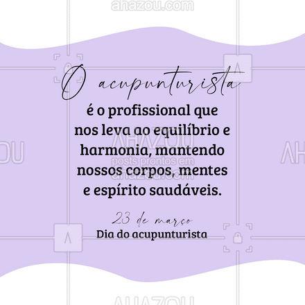 Parabéns à todos os profissionais que se dedicam à essa área tão especial! ❤️ #acupuntura #acupunturista #AhazouSaude #massoterapia #bemestar #massagem #AhazouSaude