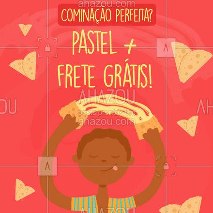 Uma combinação dessas, só na nossa pastelaria! Faça seu pedido: ? (preencher) #ahazoutaste #foodlovers #amopastel #pastel #pastelaria #pastelrecheado #fretegrátis #combinação #delivery