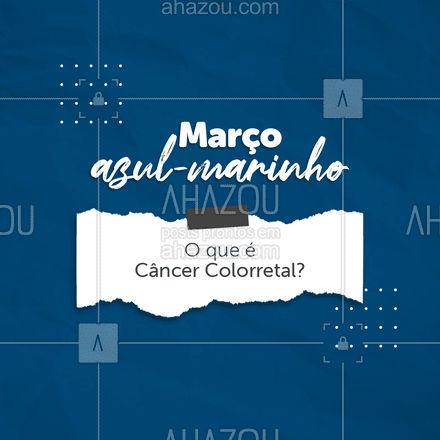 O câncer colorretal é um tumor maligno que se desenvolve no intestino grosso, isto é, no cólon ou em sua porção final, o reto. O principal tipo de tumor colorretal é o adenocarcinoma. Em 90% dos casos, esse tumor se origina a partir de um pólipo adenomatoso que, ao longo dos anos, sofre alterações progressivas em suas células. Portanto, a principal forma de prevenção do câncer colorretal é o seu rastreamento por exames como colonoscopias, visando a detecção e retiradas dos pólipos antes de se degenerarem em câncer. Cuide-se! #AhazouSaude #cuidese #saude