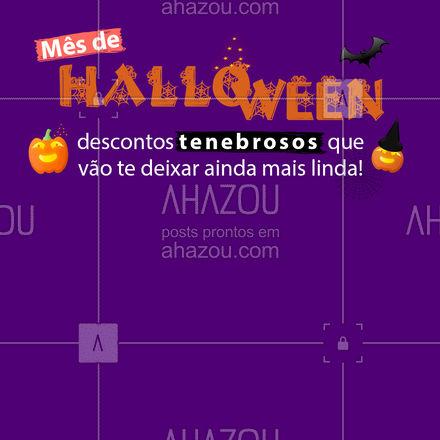 Beleza ou travessuras? ? Você não vai ficar de fora dessa promo assustadora, vai?! ? #Halloween #Promoções #AhazouBeauty #Beleza #Estetica