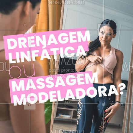 A Massagem Modeladora tem movimentos maos vigorosos que a Drenagem Linfática, sendo feitos de forma rápida e firme. Utilizam movimentos como deslizamento, amassamento, pinçamento e percussão. #Massagem #AhazouBeauty #Modeladora