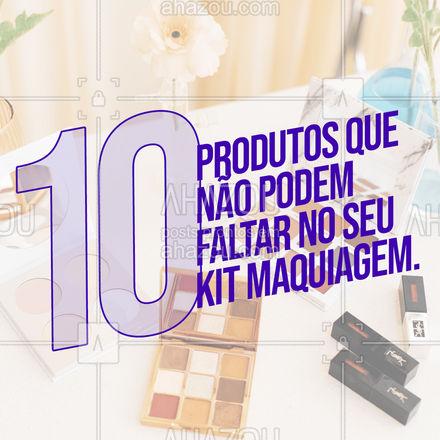 1. Água micelar; 2. Hidratante facial; 3. Filtro solar e/ou base; 4. Corretivo; 5. Pó translúcido ou pó banana; 6. Blush; 7. Iluminador; 8. Máscara de cílios; 9. Gel de sobrancelha; 10. Hidratante labial.  #AhazouBeauty  #makeup #maquiagem #maquiadora #makeoftheday