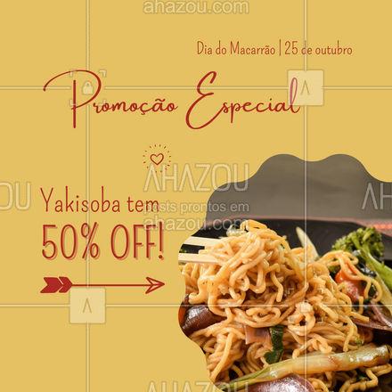 Você acredita nisso? Fica até difícil, mas é verdade! No dia do macarrão preparamos essa promoção pra você que ama um yakisoba! Você não pode ficar de fora! Pedidos (xx) xxxx-xxxx #ahazoutaste  #restauranteitaliano #cozinhaitaliana #massas #comidaitaliana #italianfood #pasta