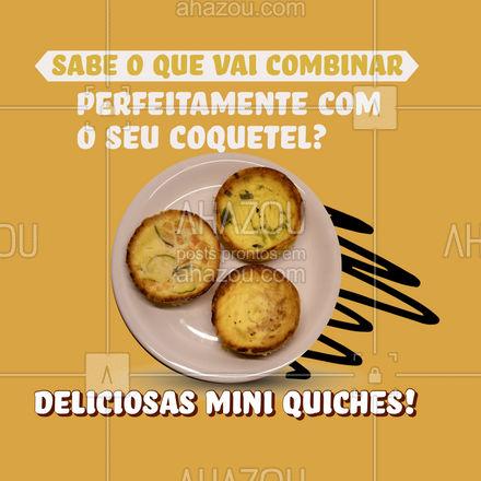 É praticamente impossível resistir a todo o sabor dessas mini quiches! Seu coquetel vai ficar muito mais gostoso com elas, então não perca tempo e faça já o seu pedido! #eventos #foodie #ahazoutaste #buffet #opçoes #cardapio #canapés #coquetel