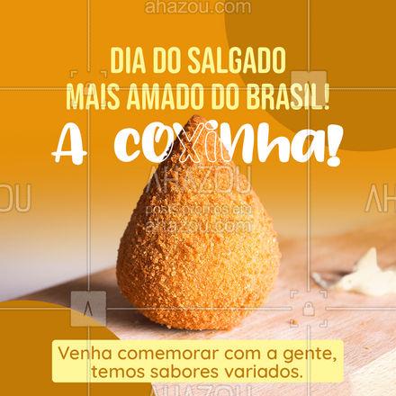 Hoje é o dia da tão querida e amada coxinha! Salgado que encanta a todos! Venha comemorar comendo sua coxinha, trabalhamos com sabores variados! #diadacoxinha #coxinha #salgados #eat #ahazoutaste