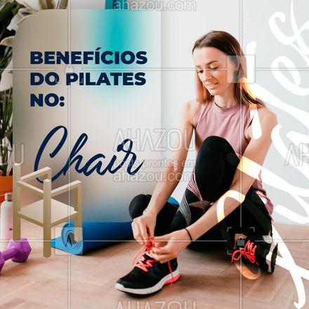 O chair oferece benefícios físicos e mentais e também benefícios como, por exemplo, o fácil transporte e fácil operação com o equipamento, facilitando assim o treino. Além disso, esse exercício melhora a postura, melhora a resistência, dando mais equilíbrio ao corpo, promove à flexão e extensão da coluna, através dos alongamentos e das posições do treino e melhora o metabolismo. Só tem benefícios! #chair #pilates #AhazouSaude  #pilatesbody #fitness