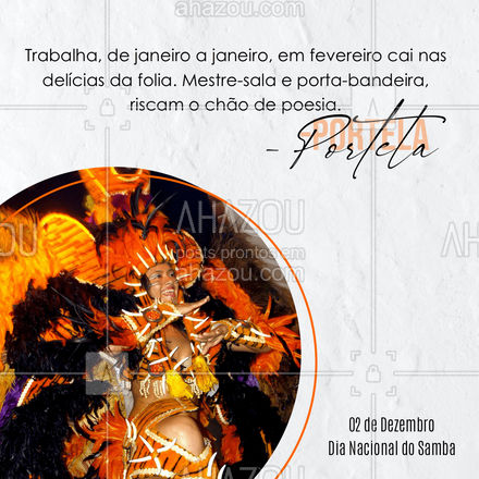 Quem não ama cair nas delícias da folia em fevereiro não é mesmo? E Portela tem toda razão! Vamos comemorar hoje o dia nacional do samba. ??? #DiaNacionalDoSamba #Portela #ahazou #Musica #Melodia