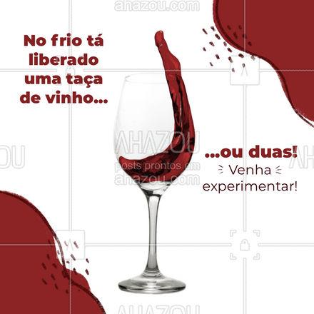 Você quer se aquecer com estilo? Uma taça de vinho é a escolha ideal! #ahazoutaste #drinks #restauranteitaliano #cocktails #bar #drinks #ahazoutaste