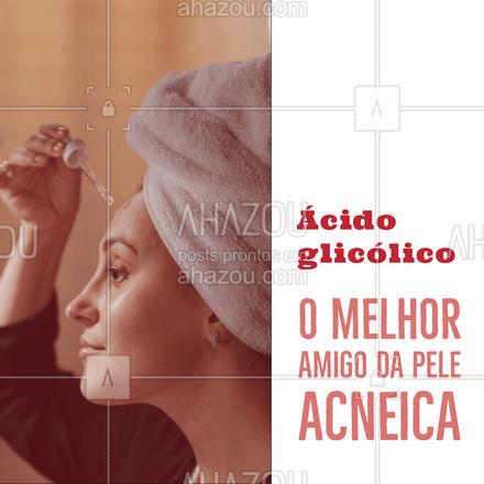 O ácido glicólico é um ativo que promove a renovação celular, estimulando a produção de colágeno, ajuda a controlar a oleosidade (prevenindo o surgimento de espinhas), melhora a textura da pele e suaviza machas causadas pelas acnes! #bemestar #esteticafacial #limpezadepele #AhazouBeauty #peeling #beleza #saúde #skincare #cuidados #homecare #produtos #dicas #beneficios #cuidadoscomapele