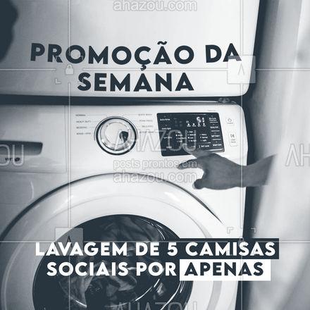 Camisas sociais são delicadas e necessitam de cuidados especiais. Aproveite a promoção e traga as suas! #AhazouServiços #promocao #camisasocial #camisa  #lavanderia  #roupalavada  #roupalimpa