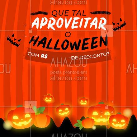 O Halloween chegou! O que você acha de aproveitar o halloween com []R$ de desconto na sua compra? Aproveite!  ??♀️?  #ahazou #halloween #feriado #DiaDasBruxas #promocao #aproveite #desconto #Bruxas #DoceOuTravessura #Produtos #servicos