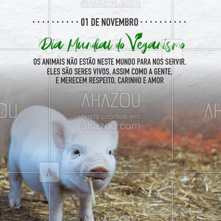 Ser vegano é respeitar os animais, é entender que eles não estão nesse mundo para nos servir, é entender que toda a vida importa. #bemestar #nutricao #alimentacaosaudavel #AhazouSaude #saude #viverbem #veganismo #diamundialdoveganismo