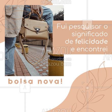 Que mulher não fica feliz com uma bolsa nova, não é mesmo? E nós temos o caminho direto para a felicidade! Confira a nossa coleção! #fashionista #fashion #moda #AhazouFashion #tendencia #acessorios #estilo #bolsa #bolsas