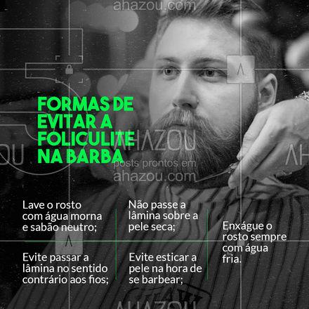 Além das dicas do post, você também pode apostar em esfoliação e hidratação para evitar a foliculite na sua barba. A esfoliação vai remover as células mortas e a hidratação evita o ressecamento da sua pele.  Curtiu as dicas? Já salva o post aí pra conferir sempre que precisar 😉   #barba #dicas #barbearia  #AhazouBeauty  #barberLife  #barbeirosbrasil  #barbeiro  #barberShop  #cuidadoscomabarba  #barber