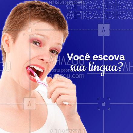 É muito importante lembrar de escovar a língua ao escovar os dentes, pois muitas bactérias e restos de alimento podem se depositar nela. Inclusive é uma das maiores causas do mau hálito. #Dentes #AhazouSaúde #Dicas