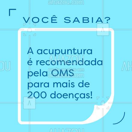 Desde 1979 a OMS recomenda a acupuntura como forma de tratamento para diversas doenças, já que ela é extremamente eficaz, reduzir a necessidade de uso de medicamentos e não tem contra indicações. #terapiascomplementares #bemestar #AhazouSaude #energia #vivabem #saude #acupuntura